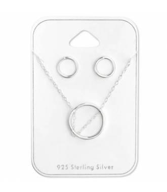 Parure bijoux cercle argent massif