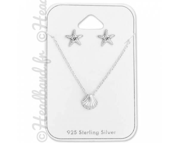 Parure bijoux coquillage et étoile de mer argent 925