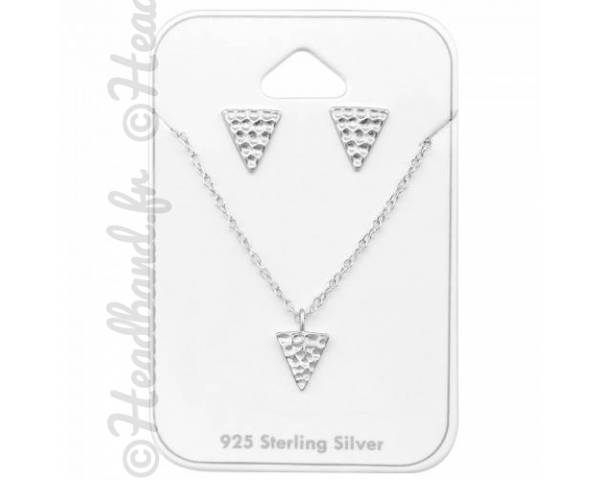 Parure bijoux triangles martelés argent véritable