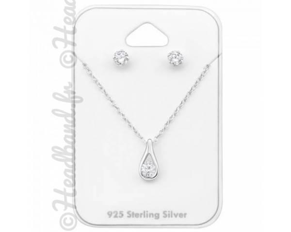 Parure bijoux cristal blanc zirconium en argent