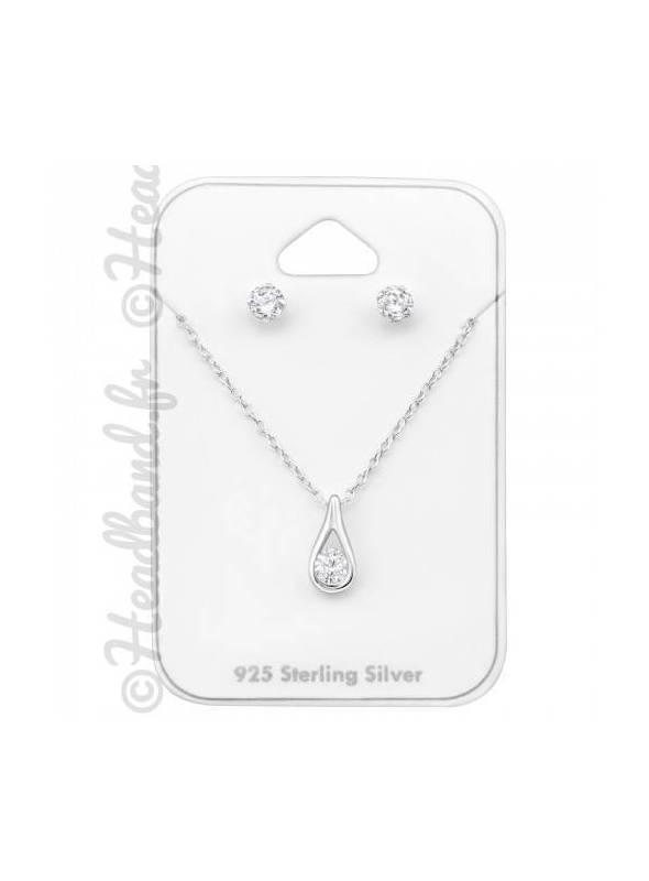 Parure bijoux cristal blanc zircunium argent 925