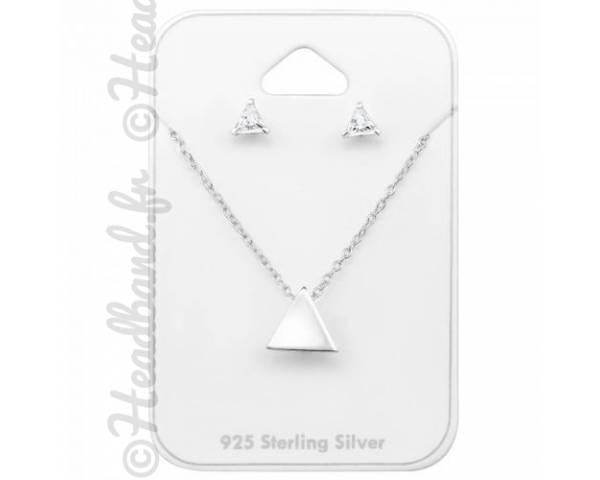 Parure bijoux triangle et zirconium argent massif
