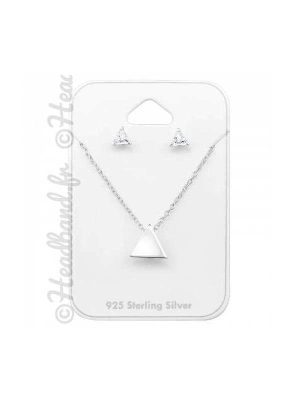 Parure bijoux triangle et zirconium argent 925