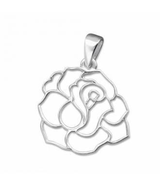 Pendentif motif fleur en argent 925