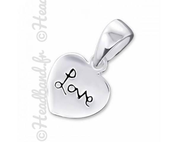 Pendentif coeur inscription love en argent