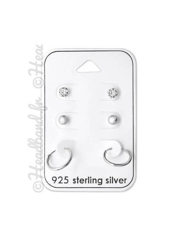 3 paires de boucles strass perles et créoles argent 925