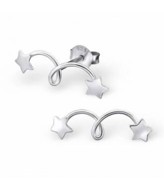 Boucles d'oreilles étoiles filantes argent 925