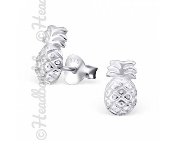 Boucles d'oreilles motif ananas argent