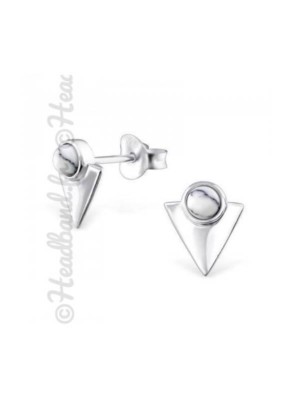 Boucles d'oreilles triangle et howlite argent 925