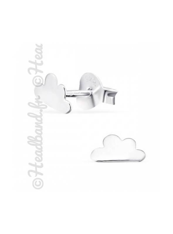 Boucles d'oreilles motif nuage argent 925