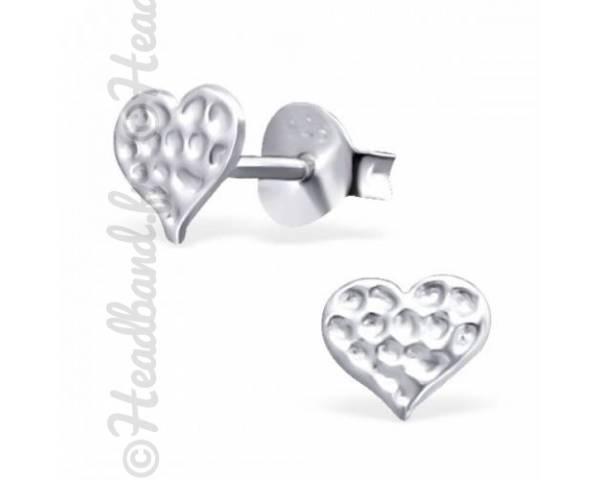 Boucles d'oreilles coeur martelé en argent