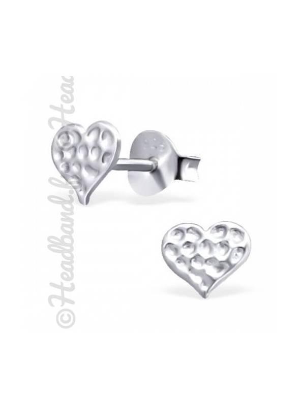 Boucles d'oreilles coeur martelé argent 925