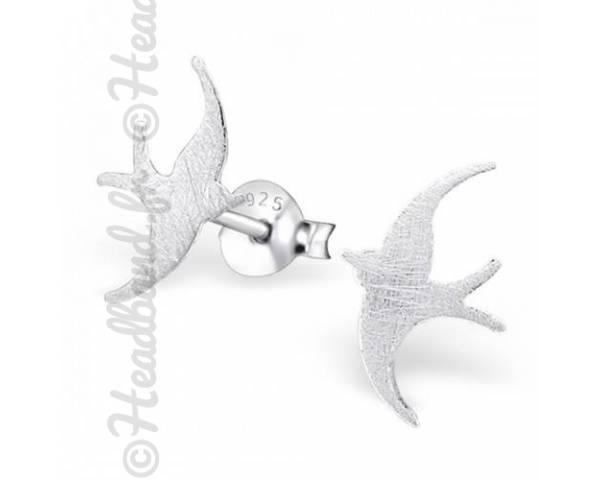 Boucles d'oreilles motif oiseau argent