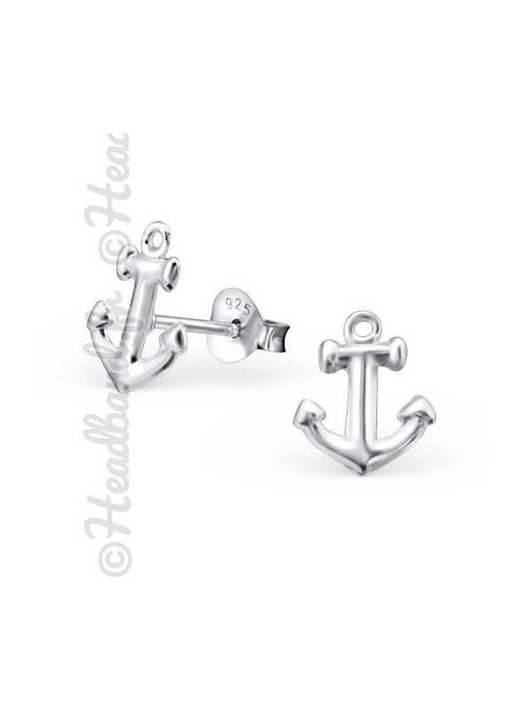 Boucles d'oreilles motif ancre marine argent 925