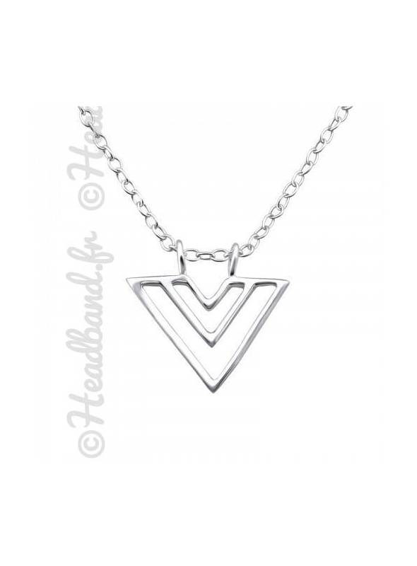 Collier pendentif triangle double argent 925