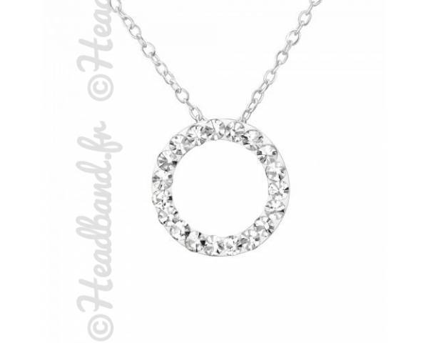 Collier pendentif cercle cristaux blanc argent 925