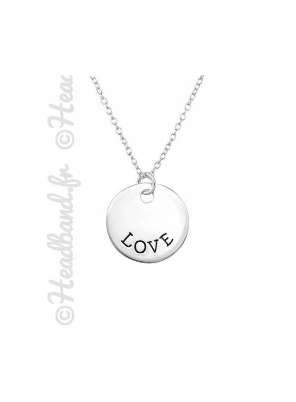 Collier médaillon inscription love argent 925