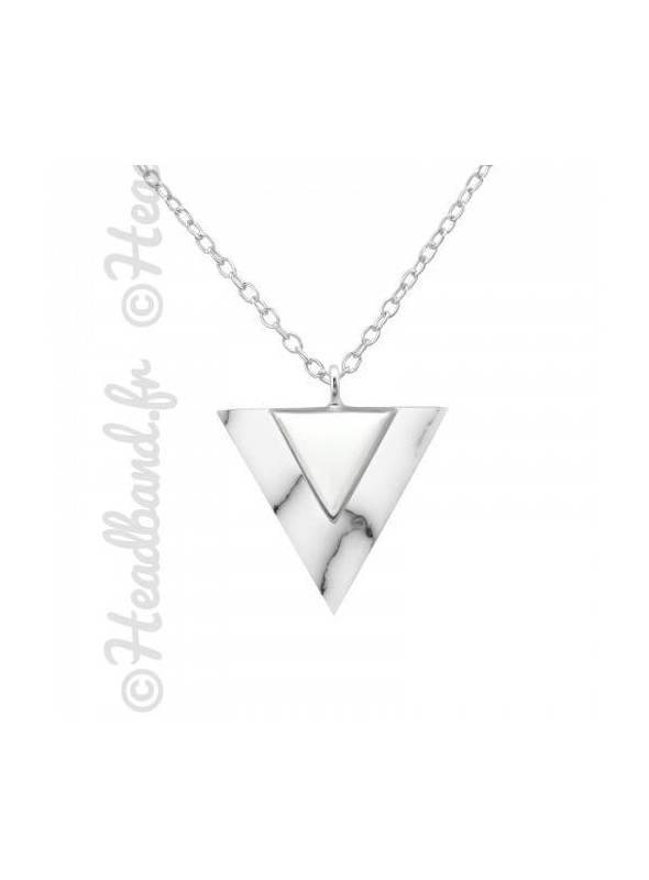 Collier pendentif triangle howlite argent 925