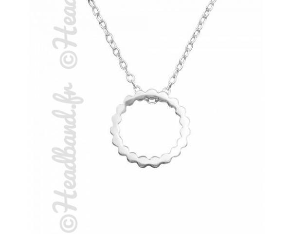 Collier pendentif cercle dentelé argent