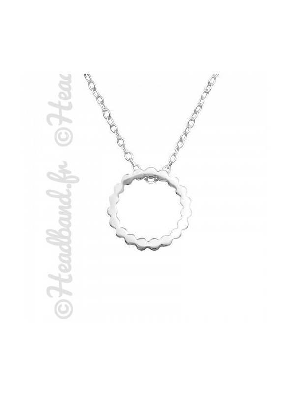 Collier pendentif cercle dentelé argent 925