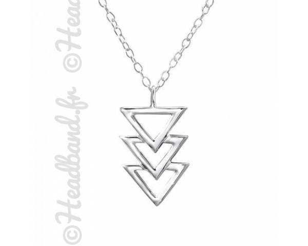 Collier pendentif formes triangles argent