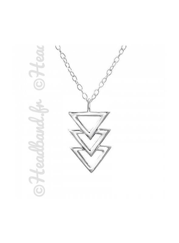 Collier pendentif trio de triangles argent 925