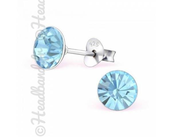 Boucles d'oreilles stud rond Swarovski aquamarine