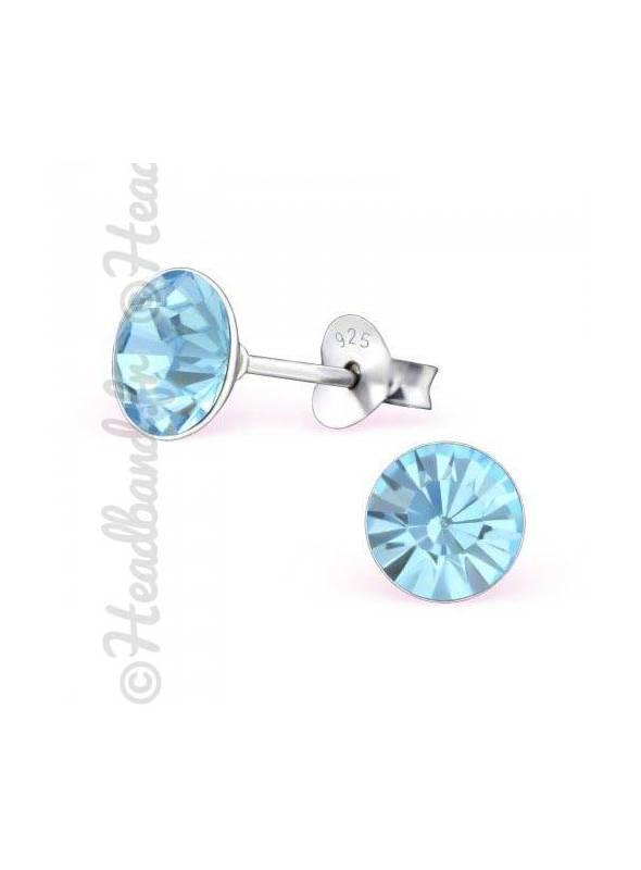 Boucles d'oreilles stud rond Swarovski® aquamarine