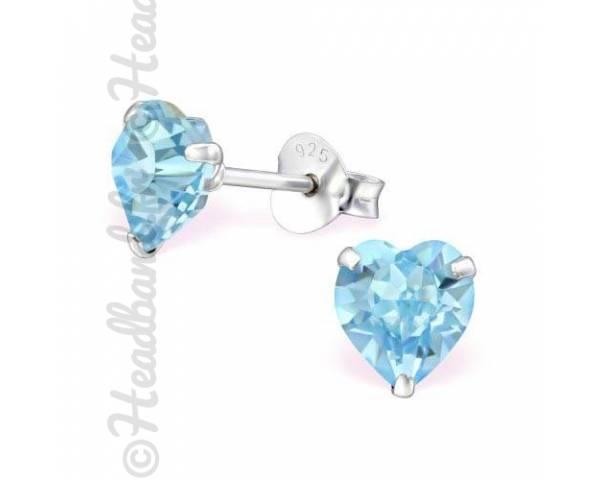 Clous d'oreilles cristal coeur Swarovski aquamarine