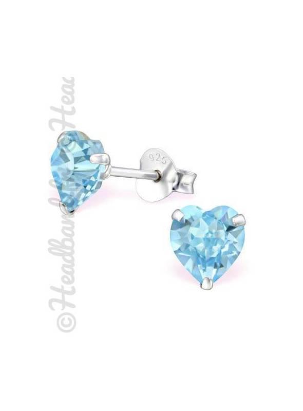 Boucles d'oreilles cristal coeur Swarovski® aquamarine