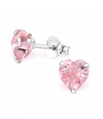 Clous d'oreilles cristal coeur Swarovski rose clair