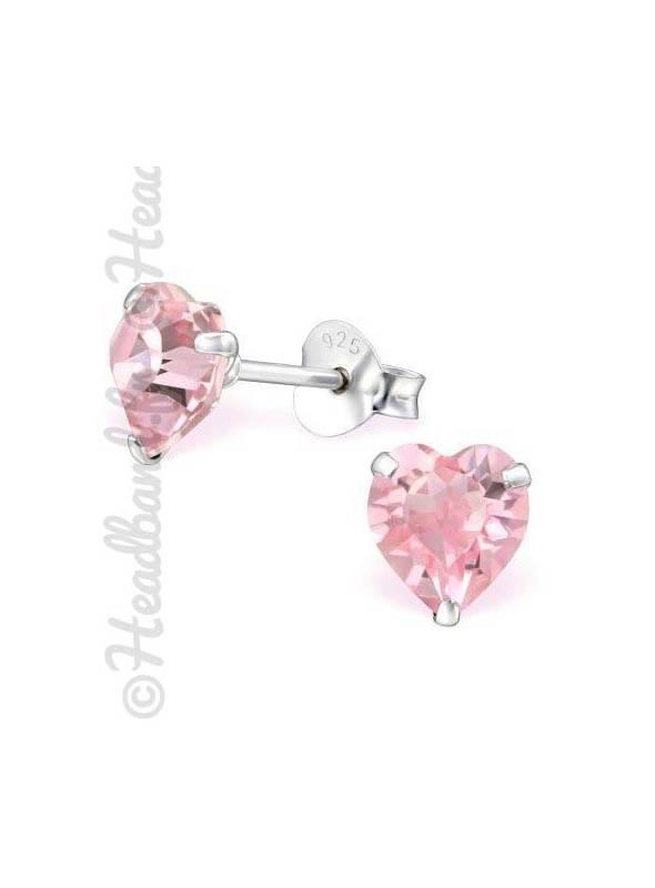 Boucles d'oreilles cristal coeur Swarovski® rose clair
