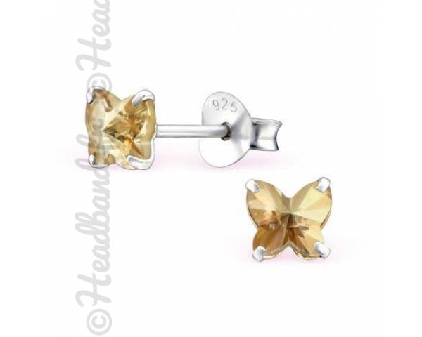 Boucles d'oreilles stud papillon Swarovski golden shadow