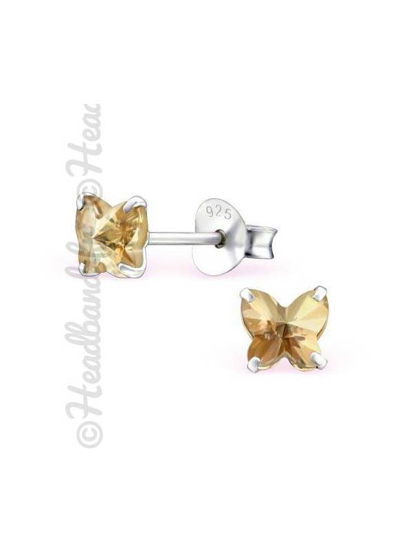 Boucles d'oreilles stud papillon Swarovski® golden shadow