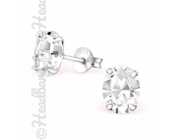 Boucles d'oreilles cristal ovale Swarovski blanc