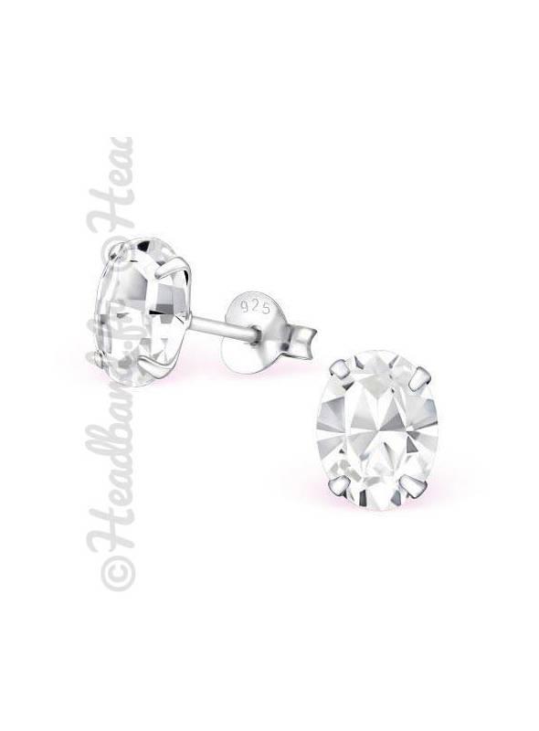 Boucles d'oreilles cristal ovale Swarovski® blanc
