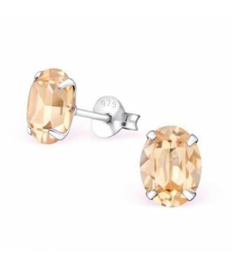 Boucles d'oreilles cristal ovale Swarovski light peach