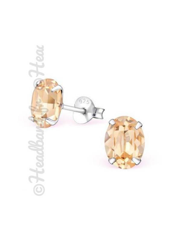 Boucles d'oreilles cristal ovale Swarovski® light peach