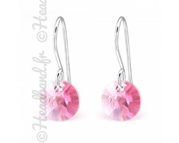 Boucles d'oreilles pendentif rond Swarovski rose
