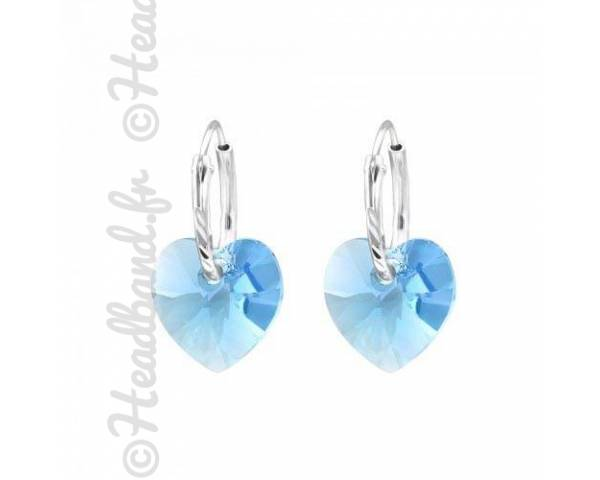 Créoles cristal coeur Swarovski aquamarine