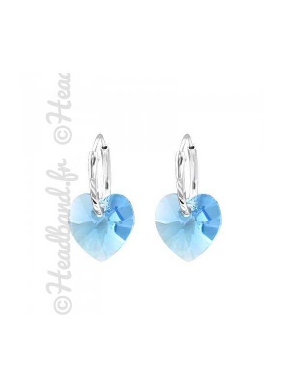 Créoles cristal coeur Swarovski® aquamarine