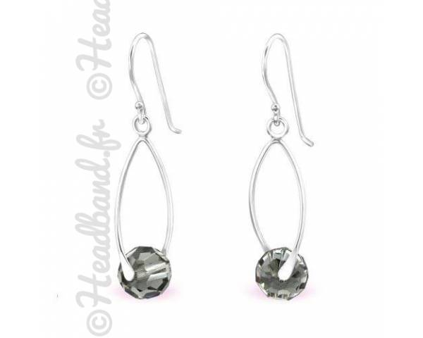 Boucles d'oreilles longues cristal Swarovski black diamond