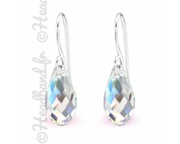 Boucles d'oreilles pendentif Swarovski cristal AB
