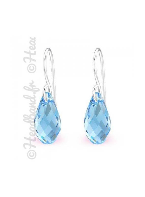 Boucles d'oreilles pendentif Swarovski® cristal aquamarine