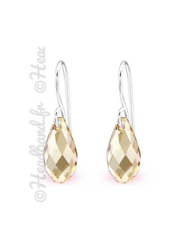 Boucles d'oreilles pendentif Swarovski® cristal golden shadow