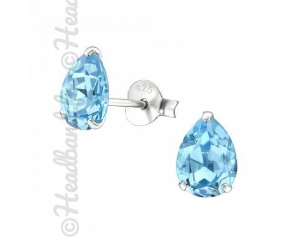 Clous d'oreilles goutte Swarovski cristal aquamarine