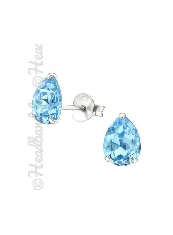 Boucles stud ovale Swarovski® cristal aquamarine