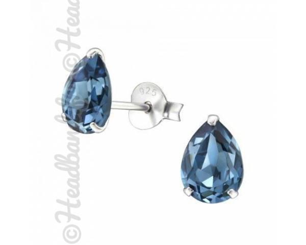 Clous d'oreilles goutte Swarovski cristal bleu denim