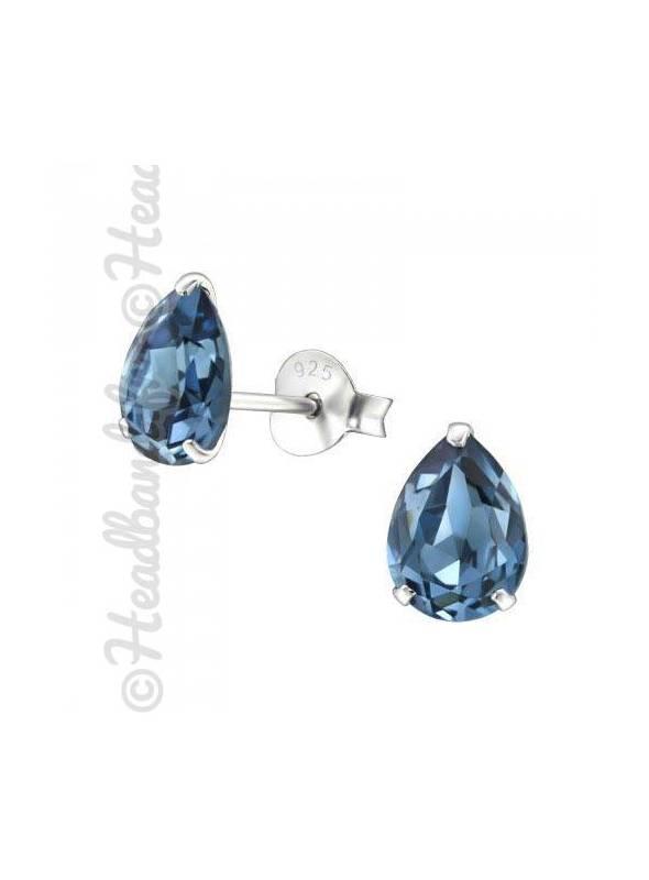 Boucles stud ovale Swarovski® cristal bleu denim