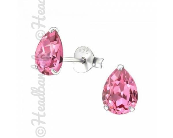 Clous d'oreilles goutte Swarovski cristal rose
